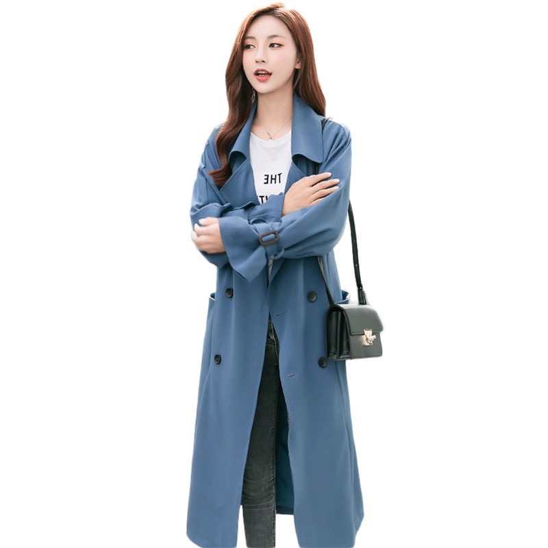 2019 Spring Autumn New Women Cassic Simple Maxi Long Windbreaker Female Double-Breasted   Trench   Coat Outerwear Manteau Femme M224