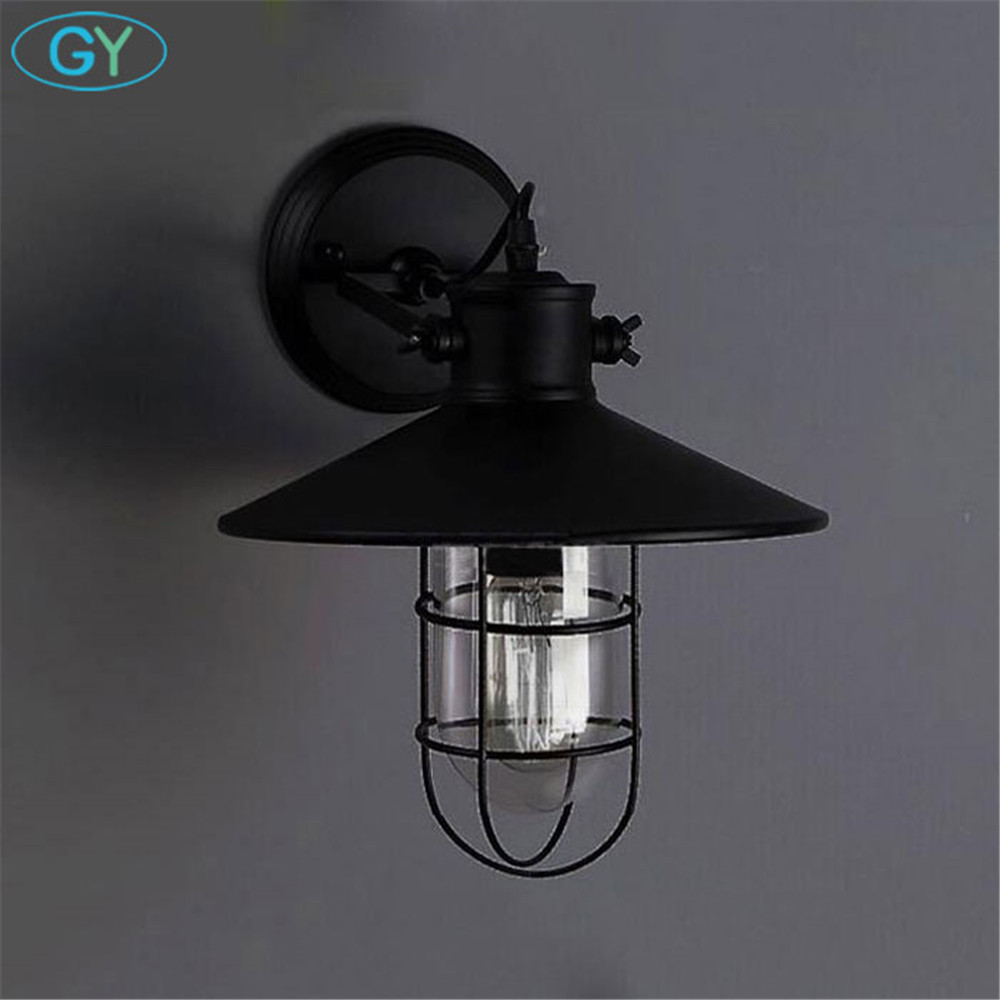 AC100-240V Black Metal Lampshade Wall lights Protected Wall Sconces Warehouse bar restaurant Adjustable wall ceiling mount lamp ac100 240 wall sconces lamp three arms adjustable study restaurant art lights decorative wall light sconce fixture
