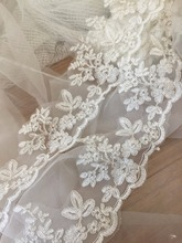 Exquisite Ivory Silver Alencon Lace Trim , Bridal Veil Lace, Scallop Wedding Gown Lace Trim , Bridal Dress Straps