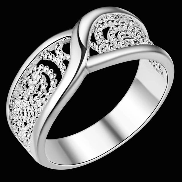 Gorgeous Rounded Hollow Shiny 925 Fashion Silver Plated Ring Engagemetn/Wedding Party Jewelry 2