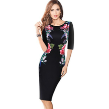 Elegant Women Vintage Sheath Dress Half Sleeve Knee-Length Pinup Floral Printed Flowers Patchwork Black Bodycon Pencil Dress