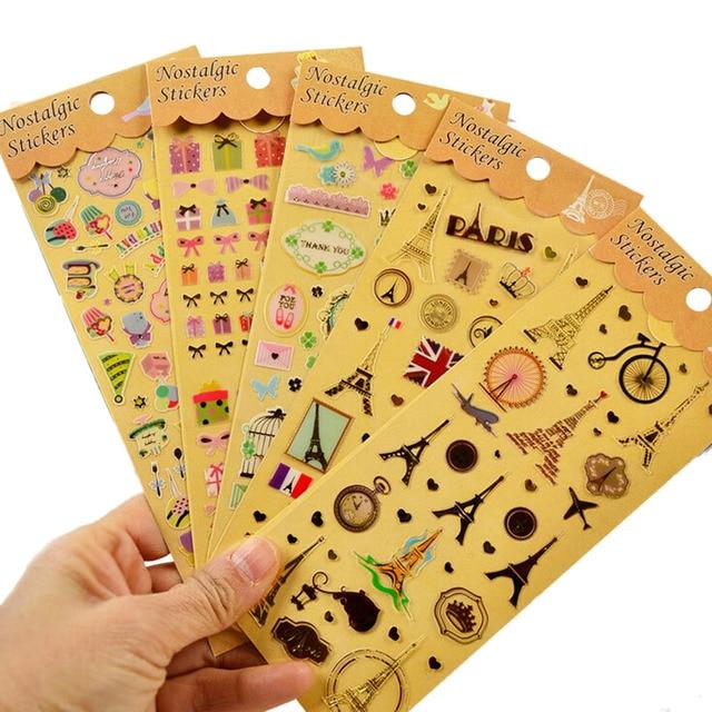 1Sheet Retro Stickers Decoration DIY Fluorescence Cartoon Paper Sticker Album Scrapbook Calendar Diary Planner Card