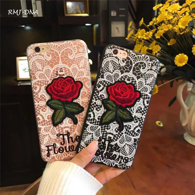 Rmj Dna 3d Rose Cord Embroidery Phone Case For Iphone 8 8 Plus