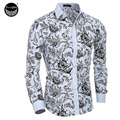 Hale Sale Dress  Shirts Mens Shirt Slim Fit Male Shirts Men Shirt Ethnic Flowers Heren Hemden Camisa Masculina XXL