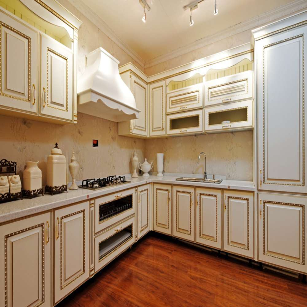 Unfinished Wood Kitchen Cabinets Wholesale: Elegant White L Shaped Solid Wooden Kitchen Cabinet-in