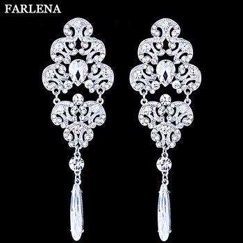 FARLENA Jewelry  Silver Plated Bridal Drop Earrings Sparkling Full Rhinestone Crystal Long Chandelier Dangle Earrings Wedding Маникюр