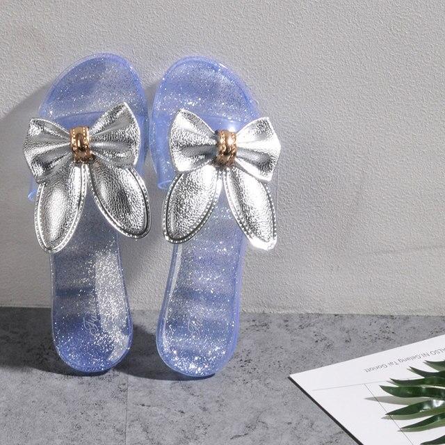 df6144da6ee3 Transparent shoes woman beach sandals jelly sandals flip flops cute cartoon  rabbit slippers glitter sandals gold slides pantufa