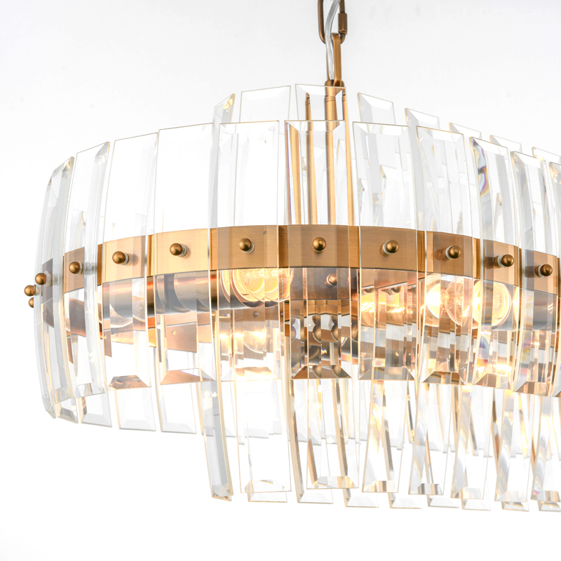 Gold Bronze Modern Chandeleir Lighting Oval Design Chain Crystal  3
