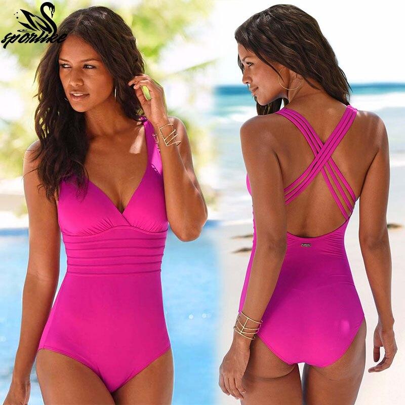 2019 neue Ankunft Ein Stück Badeanzug Frauen Vintage Badeanzüge Plus Size Bademode Strand Gepolsterte Druck Schwimmen Tragen Feste Monokinis