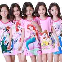 Children Short Sleeved Nightgown Suit Children's Summer Nightdress Girls Lovely Home Time Cloth Children's Day Gifts Sleepdress