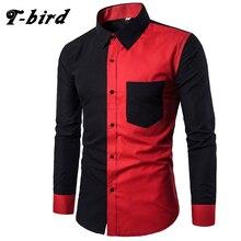 T-Bird New Brand 2017 Men Shirt Stripe Spell Color Dress Shirt Long Sleeve Slim Fit Camisa Masculina Casual Male Hawaiian Shirts