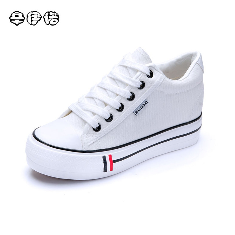 Tenis Promotion 2017 Spring New Fashion Women Shoes Casual Platform Striped Canvas Cotton Simple White Classic Black Blue Red