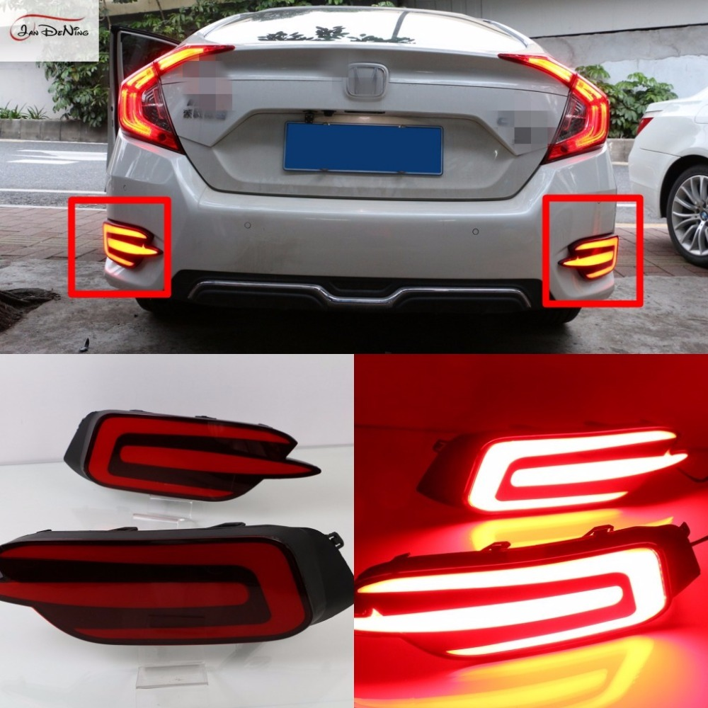 JanDeNing Car LED Rear Bumper Fog Light lamp Reflector Brake Lights For Honda Civic 2016~2017+ led rear bumper warning lights car brake lamp cob running light led turn light for honda civic 2016 one pair