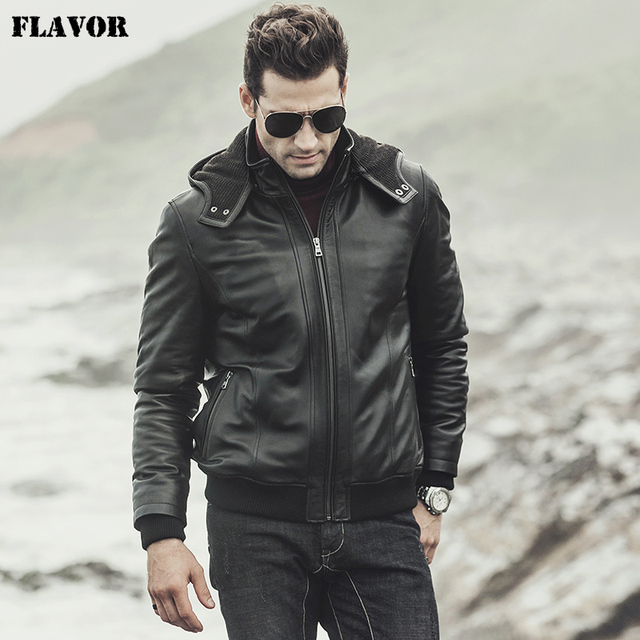 cea8be172 US $143.52 52% OFF|FLAVOR 2017 New winter Men's Real sheepskin Leather  Jacket Hooded Motorcycle coat Lambskin Genuine Leather Jacket-in Genuine ...