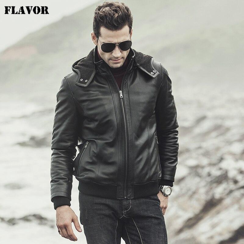SAVEUR 2017 Nouveau hiver Hommes Réel en peau de mouton En Cuir Veste À Capuche Moto manteau Agneau Véritable Veste En Cuir