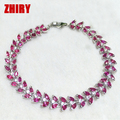 ZHHIRY Natural Ruby Gem Stone Bracelet Red Solid Sterling Silver Women Prom Real Gold Plated Party Fine Jewelry