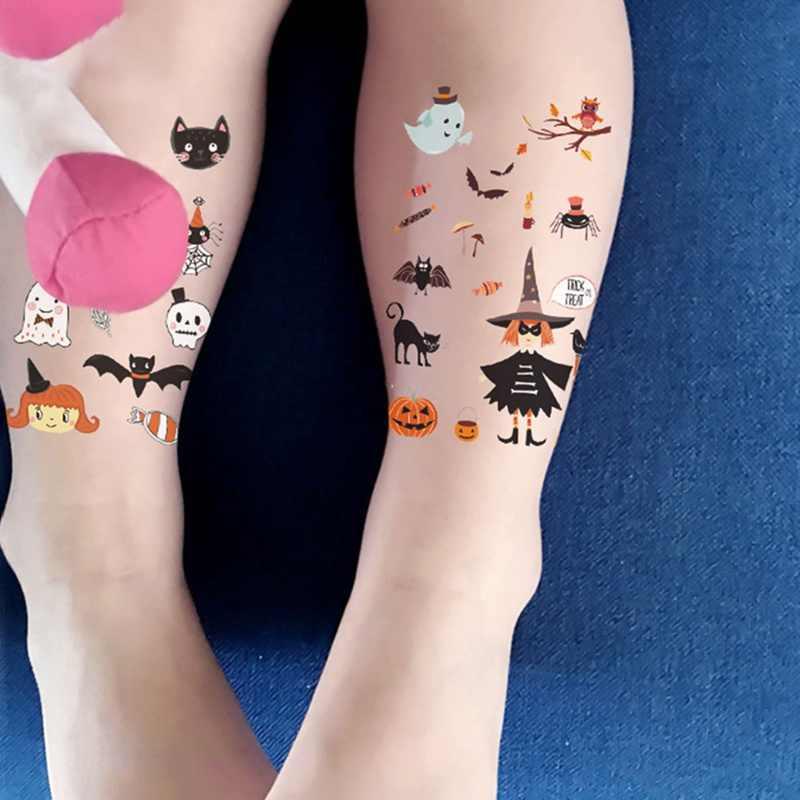 Serie de pegatinas de tatuaje de súper fuego de Halloween diseño de cabeza de calabaza Horrible adecuado para tatuaje de niños y niñas.