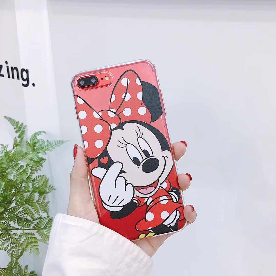 Hoạt Hình dễ thương Minnie Hoạt Hình Ốp Lưng Cho iPhone 6 6 S 7 8 Plus X XS Max XR Vịt Donald daisy Nữ Thời Trang Trường Hợp Fundas