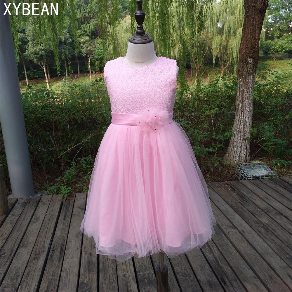 Free shipping New   flower     girl     dresses   Tulle Pink   flower     girl     dress   2-12 age