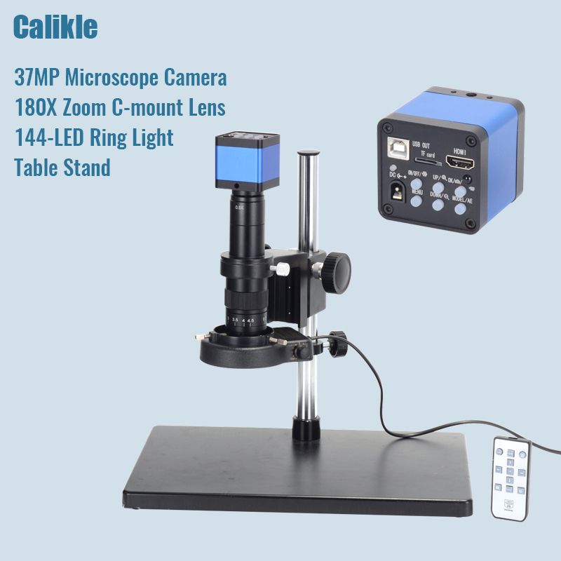 37MP Full HD 1080P 60FPS HDMI usb digital Industry Microscope Camera Set+Big Stereo Table Stand +180X C-MOUNT Lens+144 LED Light