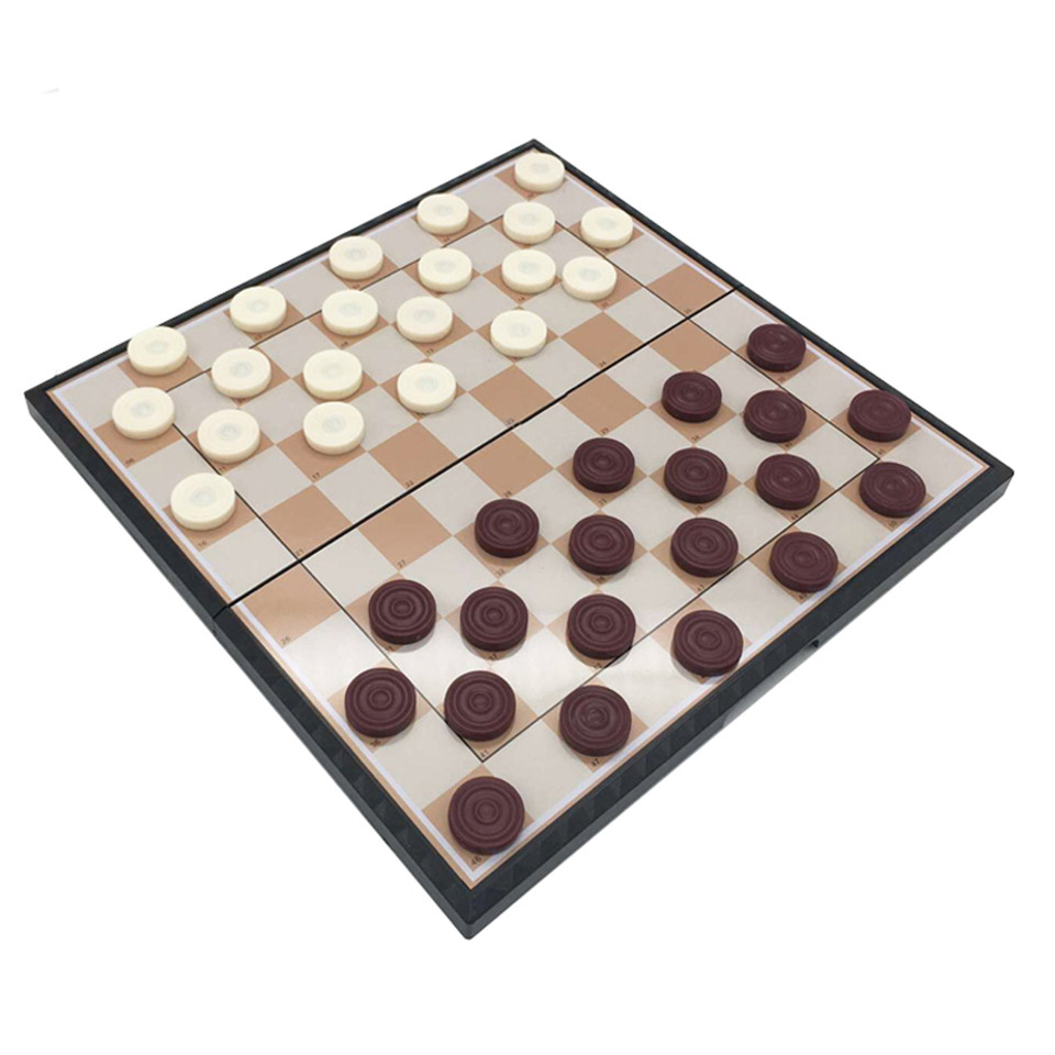 BSTFAMLY International Checkers Portable Plastic Chess Set 29 29 20 20cm Folding Checkerboard Magnetic Chess Game 100 Checker T1 in Chess Sets from Sports Entertainment