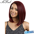 Sofeel Most elagatant fashion newest and harming girl's and women's burgundy middle wig with high quality rose net for parties