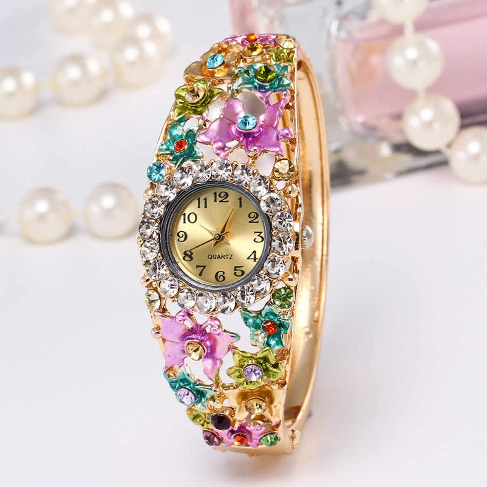 Women Watches Luxury Brand Crystal Quartz Wristwatches Round Full Rhinestone Movement Bracelet Relogio Feminino Orologio Donna