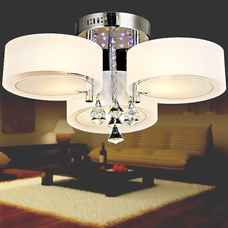 Ecolight Remote Control 3 Light RGB Led Crystal  Modern Living Room Bedroom Children Room Ceiling light 110V-220V