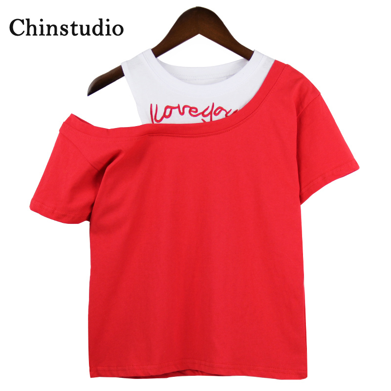 Chinstudio Embroidery Cutout Loose Short-sleeved Red I Love you T-Shirts 2018 Summer Off The Shoulder Tops for Women T-shirt
