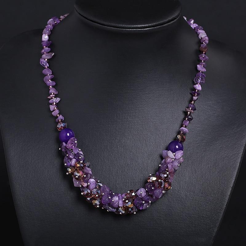 все цены на Natural Irregular Amethysts Gravel Stone Beaded Necklaces Women Boho Choker Power Jewelry Purple Crystal Quartz Strand Necklace онлайн
