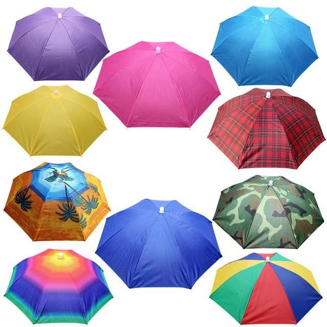 Foldable Umbrella Hat Fishing Hat Hiking Camping Beach Headwear Sun Cap Head Hats Outdoor Sport Fishing Tackle Accessory tool 5