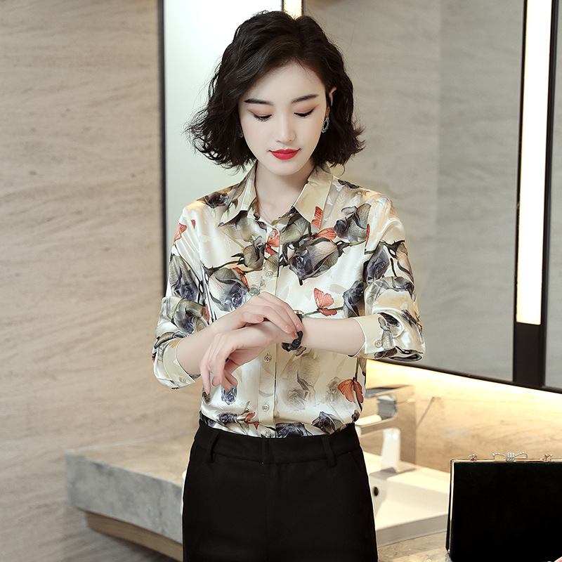 Women Natural Silk Shirts Knitted Full Sleeve OL Blouses Large Female Shirts Comfortable Breathable Turn down Blouses X8908