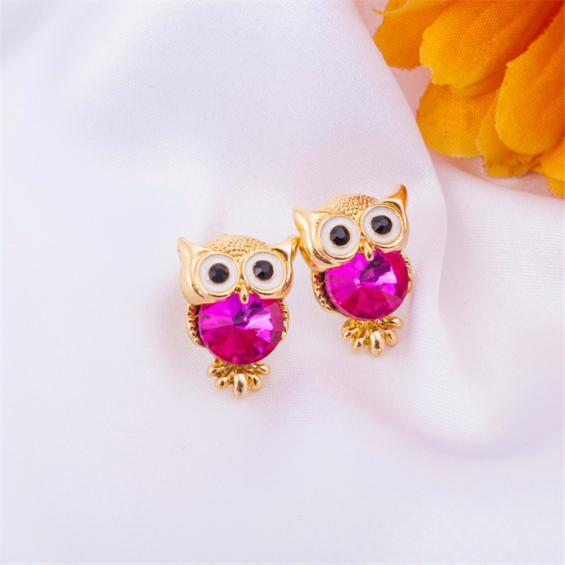 New Design Crystal Women Charms Owl Stud Earrings Cute Colors Fashion Ruby Jewelry White Gold Plated Trendy