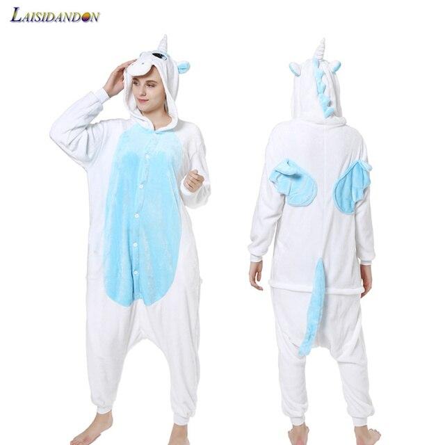 d550d7e4f5a7 Pegasus Unicorn Pajamas Set Adult Flannel Cartoon Winter pijama de ...