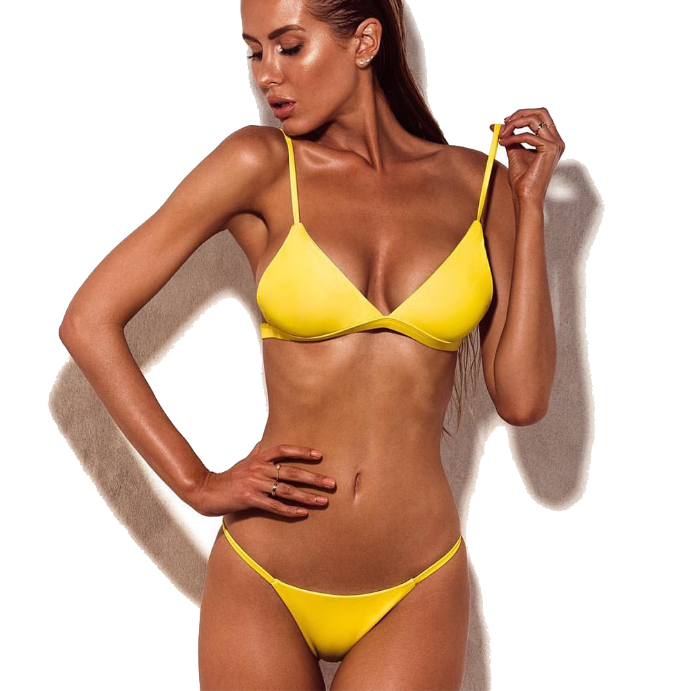 Yellow Bikini Set Micro Thong Swimwear Women Bikini 2017 Sexy Biquini Swimsuit Female Brazilian Push Up Swim wear Bathing Suit sexy knotted bow bikini set swimsuit bandage bikini 2017 swimwear women brazilian thong biquini push up swim wear bathing suit