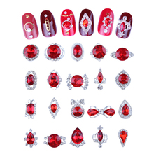 Nail Art Crystal Gem Glitter Rhinestones 100 Pcs/Bag K9 Glass Stone Alloy Nail Art Crystal Rhinestone 3D Nail Art Decoration #JC цена 2017