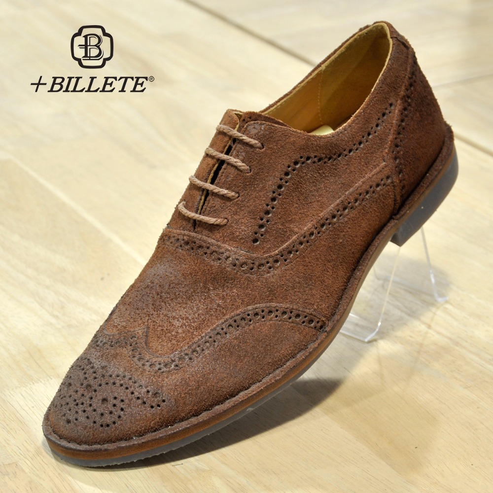Billete Britain Stylish Mens Wedding Brogue Casual Shoes Genuine Leather Brown Party Casual Business Formal Dress Shoes top quality crocodile grain black oxfords mens dress shoes genuine leather business shoes mens formal wedding shoes