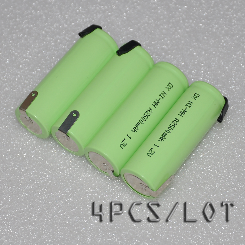 4PCSUNITEK 1.2V rechargeable battery A SIZE 2500mah 17500 ni-mh cell pack with tabs for Philips Braun electric shaver toothbrush image