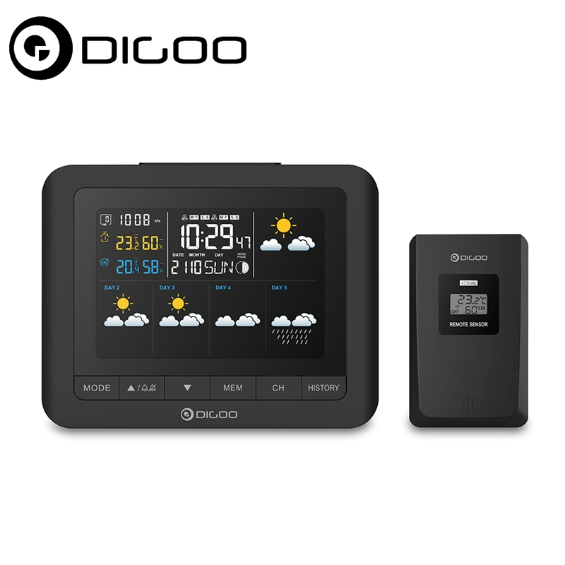 Digoo DG-TH8805 Wireless Forcast Version Weather Station Color Screen Pressure Hygrometer Humidity Thermometer Temperature ut330a ut330b ut330c datalogger temperature humidity atmospheric pressure ip67 waterproof weather station export thermometer