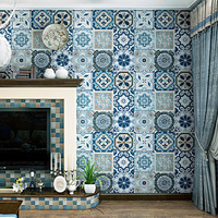 Imitation tile wallpaper Bohemia Mediterranean style PVC Background wallpaper Living room bedroom kitchen decoration sticker
