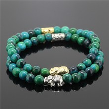 Multicolor Natural Stone Bead Onyx Elephant Connector Bracelet