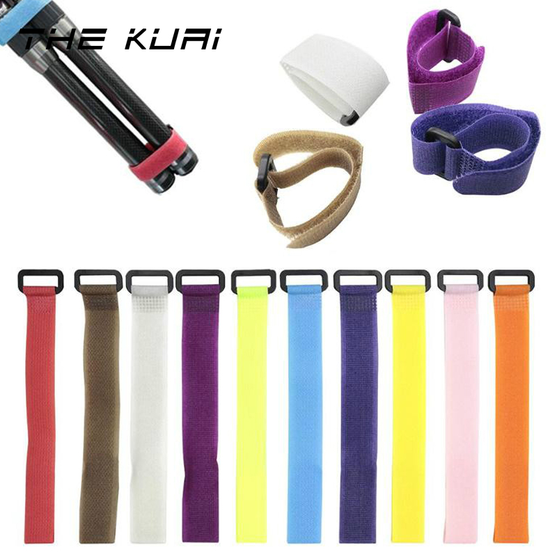 THEKUAI 10pcs Reusable Fishing Rod Tie Holder Strap Suspenders Fastener Hook Loop Cable Cord Ties Belt Fishing