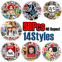 14 styles 50pcs set Stickers Mixed Funny Colorful For Car PVC Waterproof High Quality Personality Car