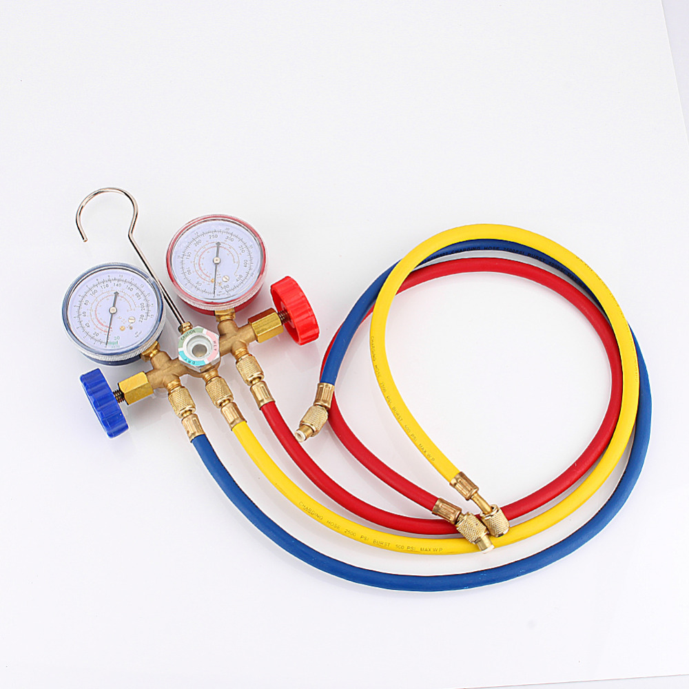 New Refrigeration Air Conditioning AC Diagnostic Manifold Gauge Tool Set sn For All Car A/C With Hose and Hook Kit