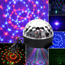 LED RGB Crystal Magic Ball Stage Effect Light Auto Rotating Voice Activated DJ Club Bar Disco Party Lighting For KTV Xmas Party eu us plug ktv club bar mini rotating led rgb crystal magic ball effect light disco dj stage business lighting ac220v
