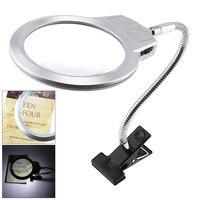 2,5X107 мм 5X24 мм светодиодный осветительный Лупа металлический шланг увеличительное стекло Настольная лампа для чтения светильник с зажимом