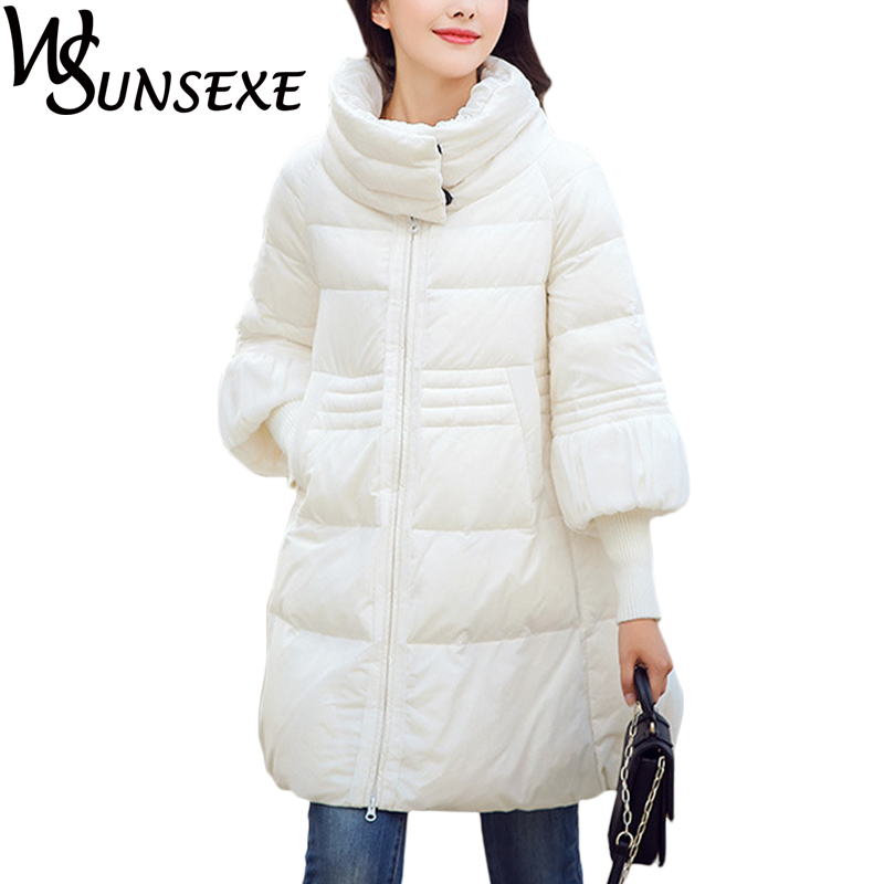 Elegant Parkas Woman Casual Coats Winter A-Line Thick Turtleneck Cotton Down Spliced Knited Sleeve Black Jackets Warm Overcoat casual 2016 winter jacket for boys warm jackets coats outerwears thick hooded down cotton jackets for children boy winter parkas