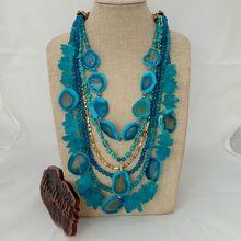 "23""-31"" 6 Strands Blue Gems Stone Crystal Necklace"
