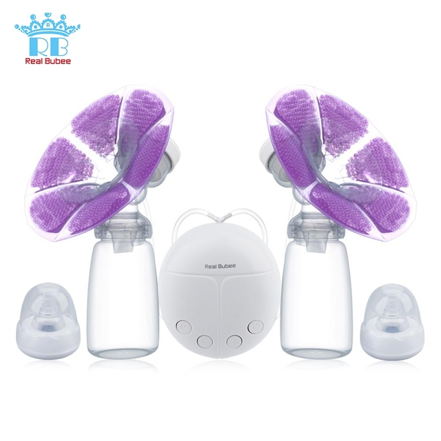 New Real Bubee Automatic Newborn Baby Feeding Double Electric Breast Pump Milk Pumps with Milk Bottle Cold Heat Pad for Mothers