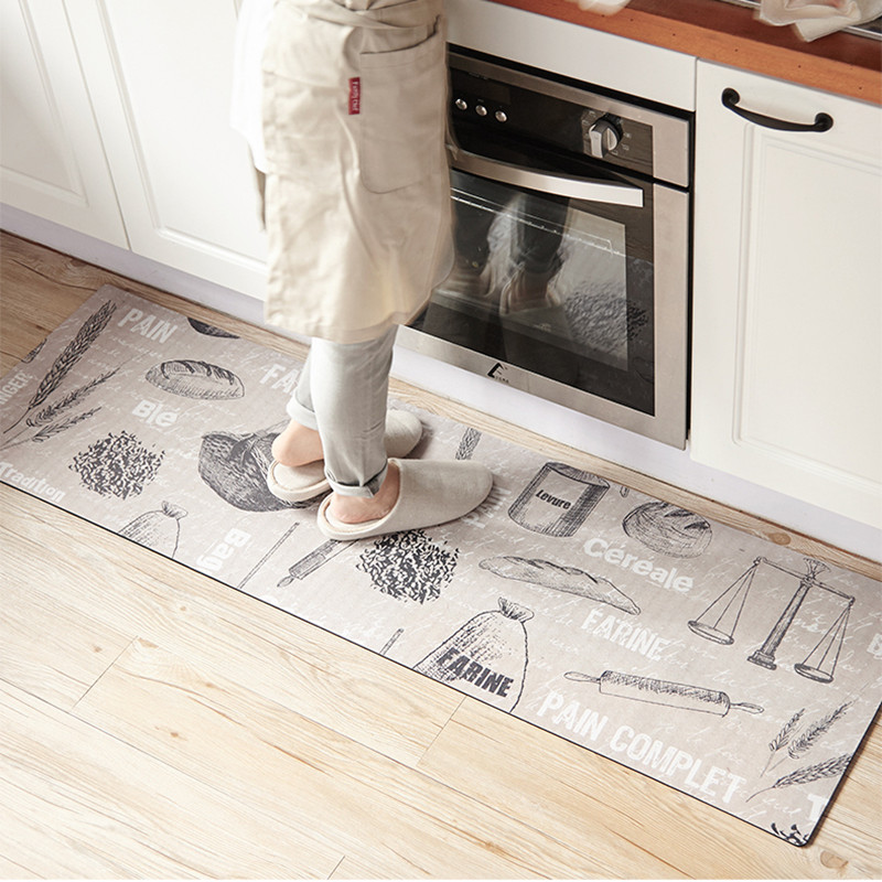 80X45cm/120X45cm/150X45cm Bread Wheat Printed Kitchen Floor Mat Modern Anti skid/Anti foulin Rug PVC Leather Material Carpets